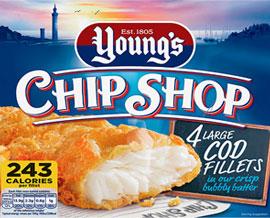 Young's Chip Shop 4 Large Cod Fillets