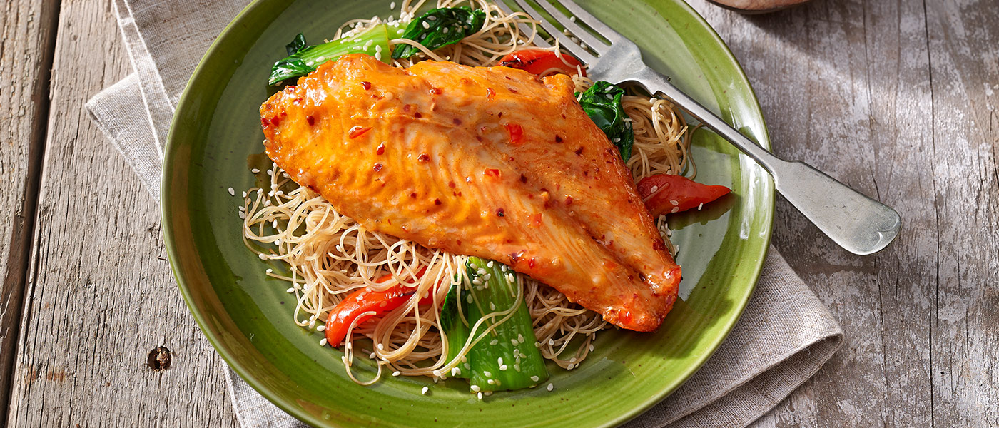 Sweet chilli marinated basa fillets with noodles and pak for Basa fish fillet