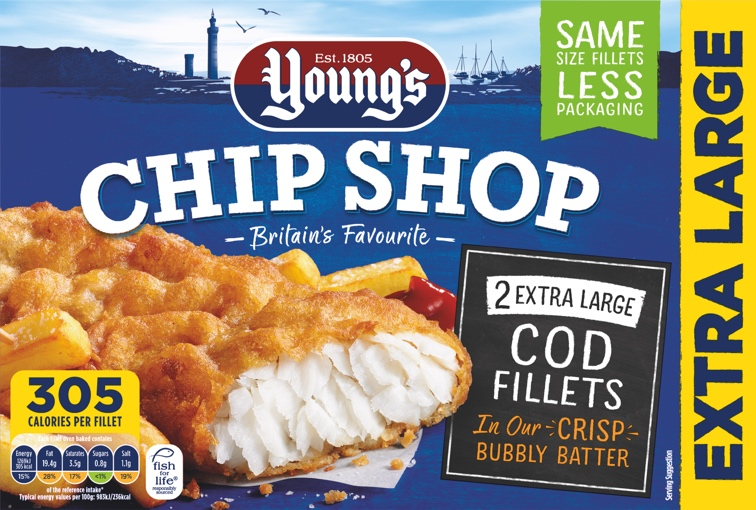 2 extra large cod fillets young s seafood for Cod fish nutrition