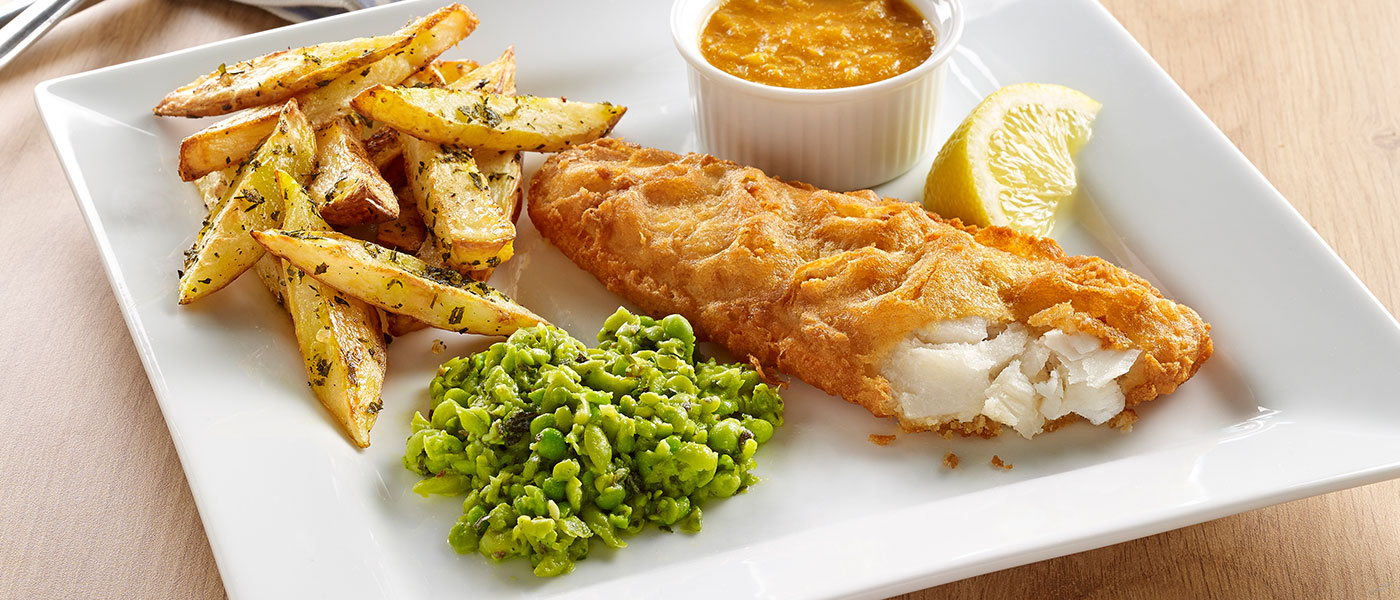 chip shop cod with homemade curry sauce chips minted mushy peas young s seafood. Black Bedroom Furniture Sets. Home Design Ideas