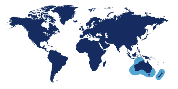 World map showing waters where Hoki is found.