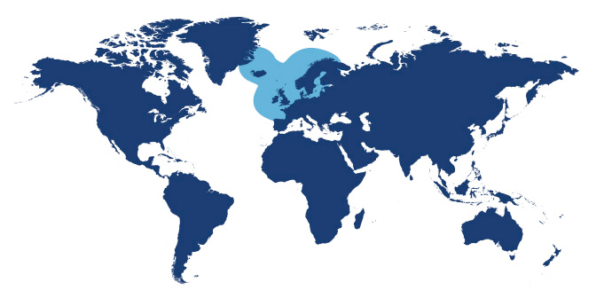 World map showing waters where Lemon Sole is found.