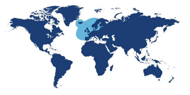 World map showing waters where Plaice is found.